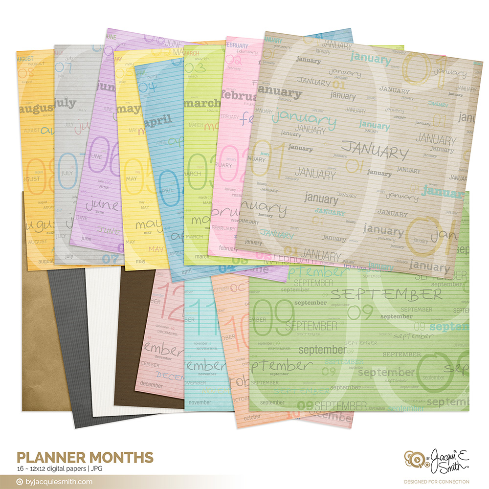 Planner Months digital paper at www.byjacquiesmith.com