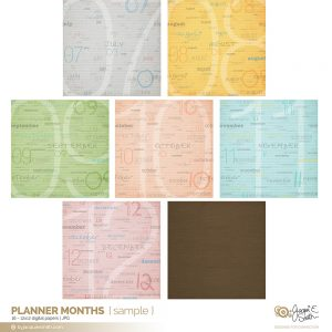Planner Months digital papers preview at www.byjacquiesmith.com