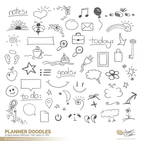 Planner Doodles stamps: vector, brush and overlays at www.byjacquiesmith.com