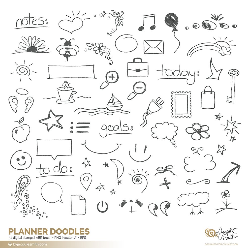 Home / Stamps + Brushes / Planner Doodle: : vector, brushes and ...