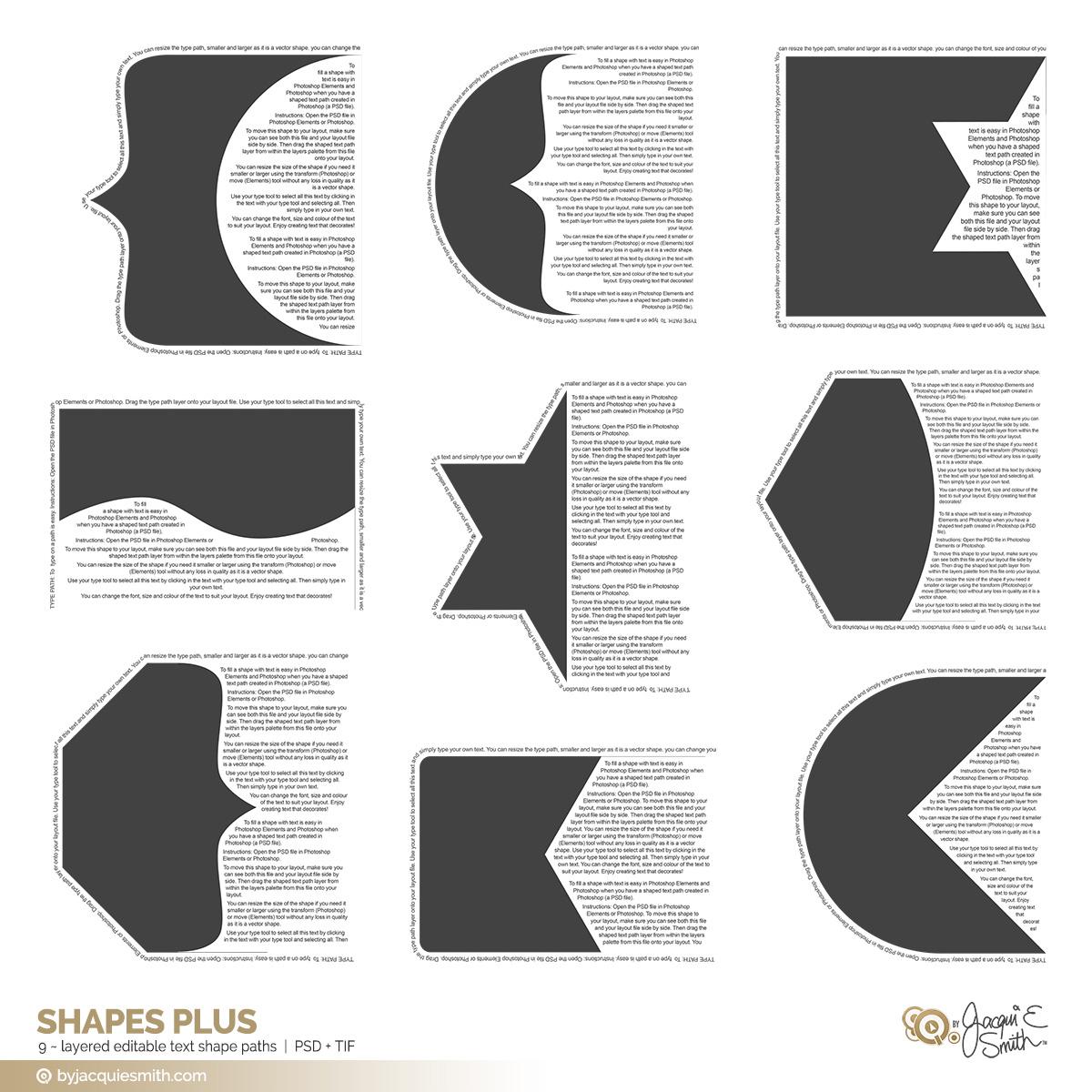 Shapes Plus editable layered templates at byjacquiesmith.com