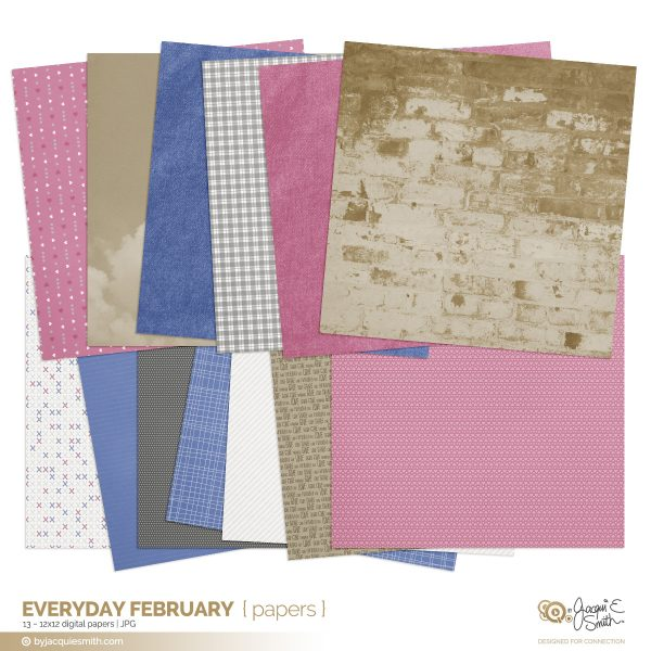 Everyday February digital paper at byjacquiesmith.com