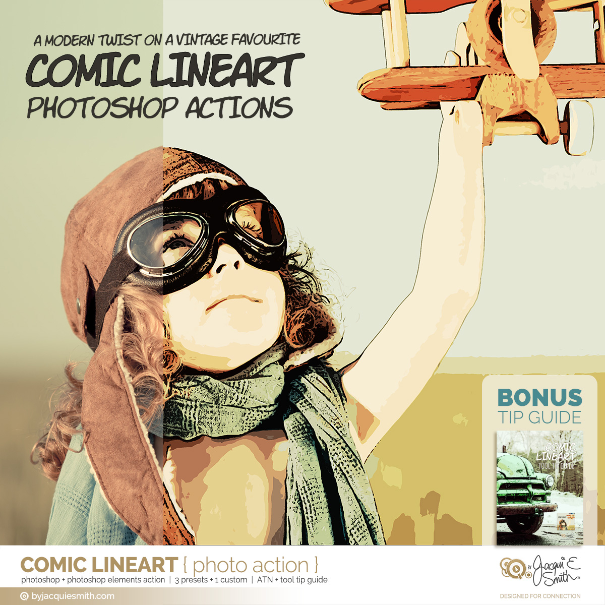 Comic LineArt photo action at byjacquiesmith.com