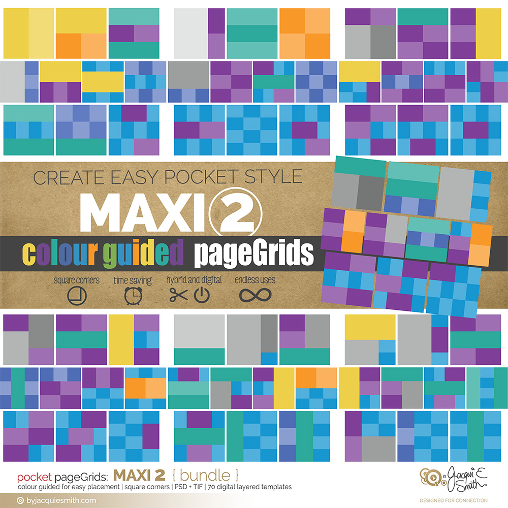 pageGrids Maxi 2 digital pocket templates at www.byjacquiesmith.com
