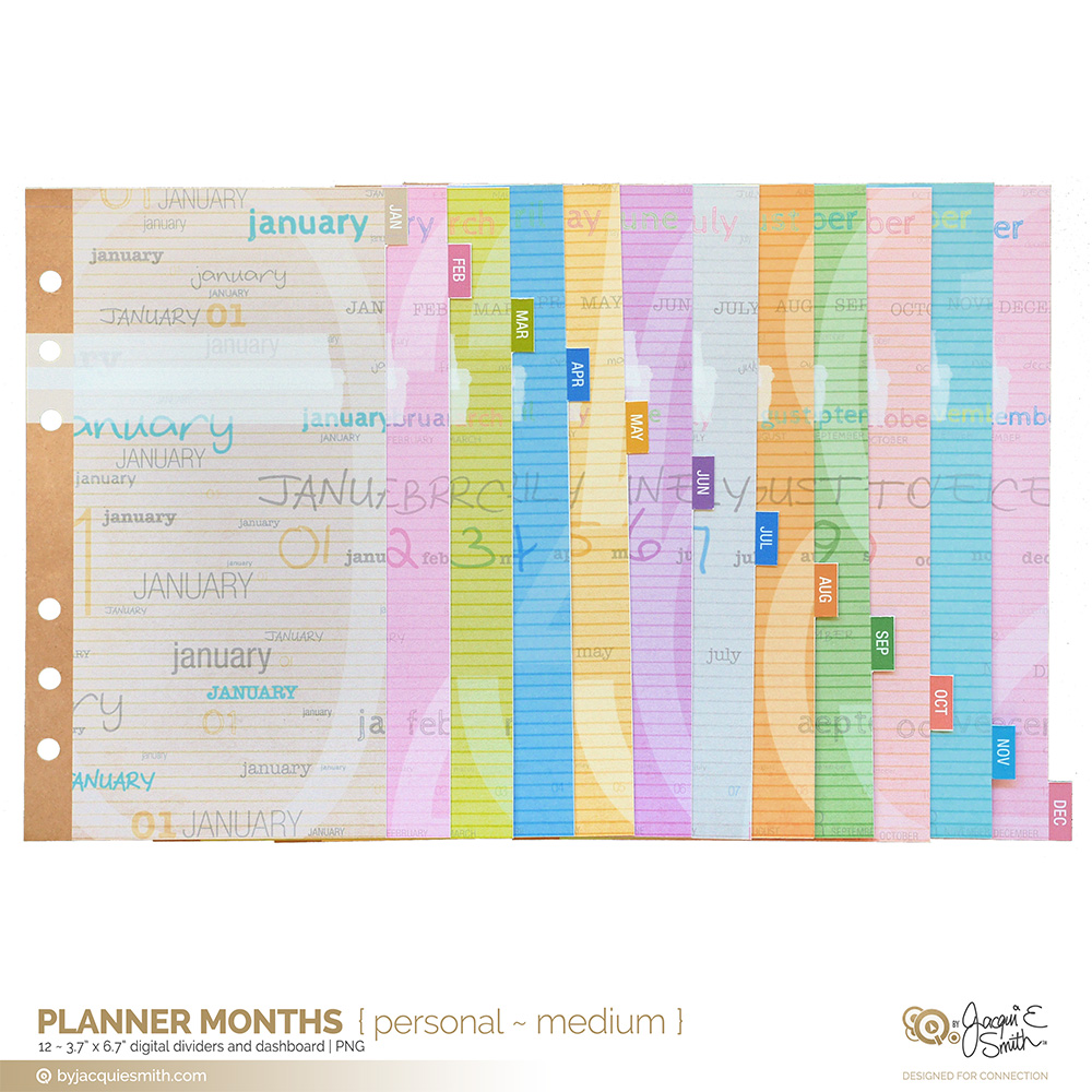 Planner Months: planner dividers and dashboards | byjacquiesmith