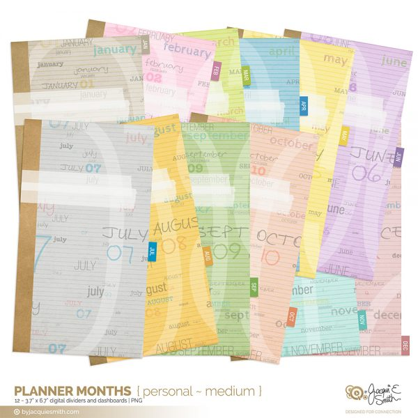 Planner Months planner dividers at www.byjacquiesmith.com
