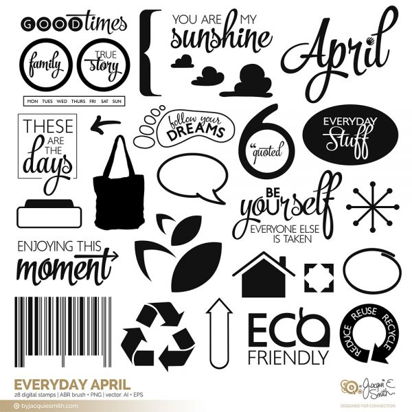 Everyday April digital stamps at www.byjacquiesmith.com