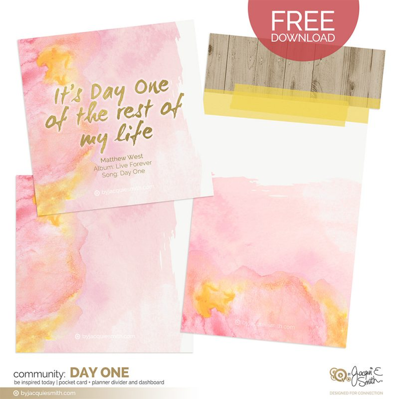 Day One printable Pocket Card and Planner Divider at www.byjacquiesmith.com