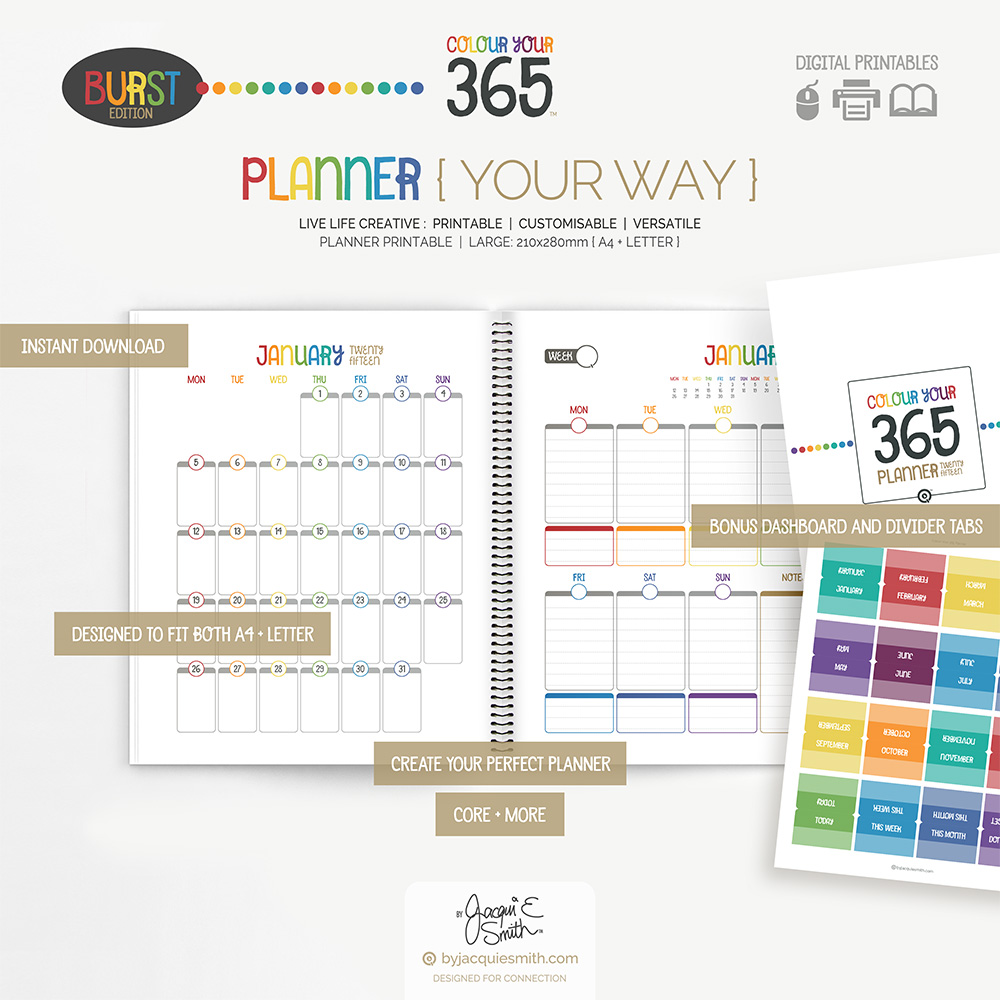 Colour Your 365 Planner at www.byjacquiesmith.com