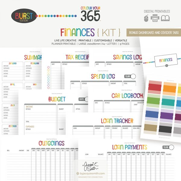 Printable Planner Finances Kit Colour Your 365 Burst Edition at www.byjacquiesmith.com
