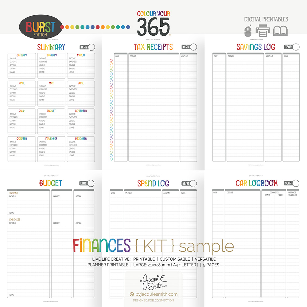 Burst Finances Colour Your 365 Planner at www.byjacquiesmith.com
