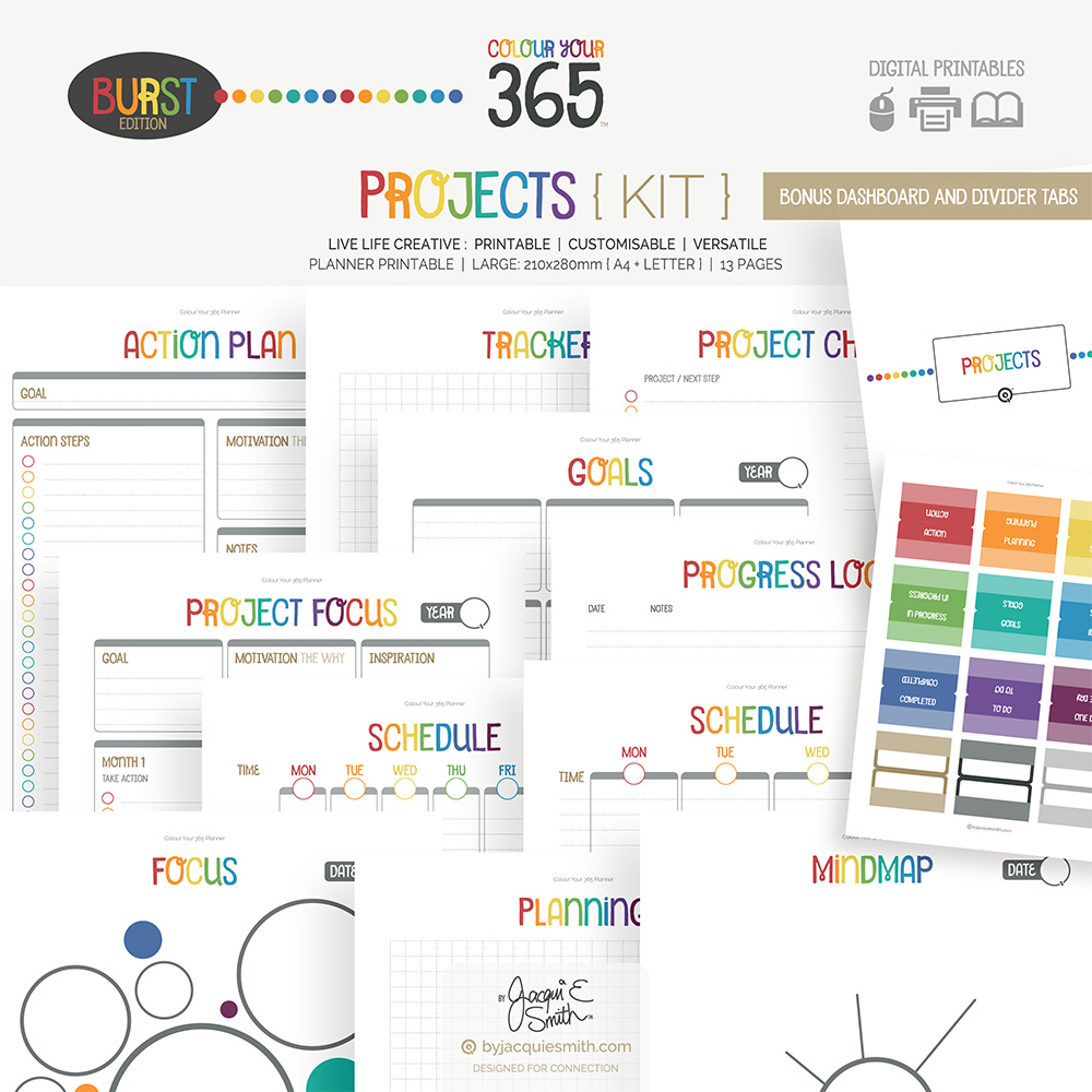 Printable Planner Projects Kit Colour Your 365 Burst Edition at www.byjacquiesmith.com