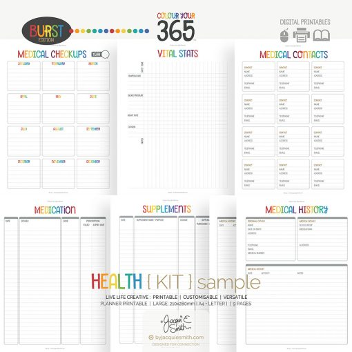 Printable Planner Health Kit Colour Your 365 Burst Edition at www.byjacquiesmith.com