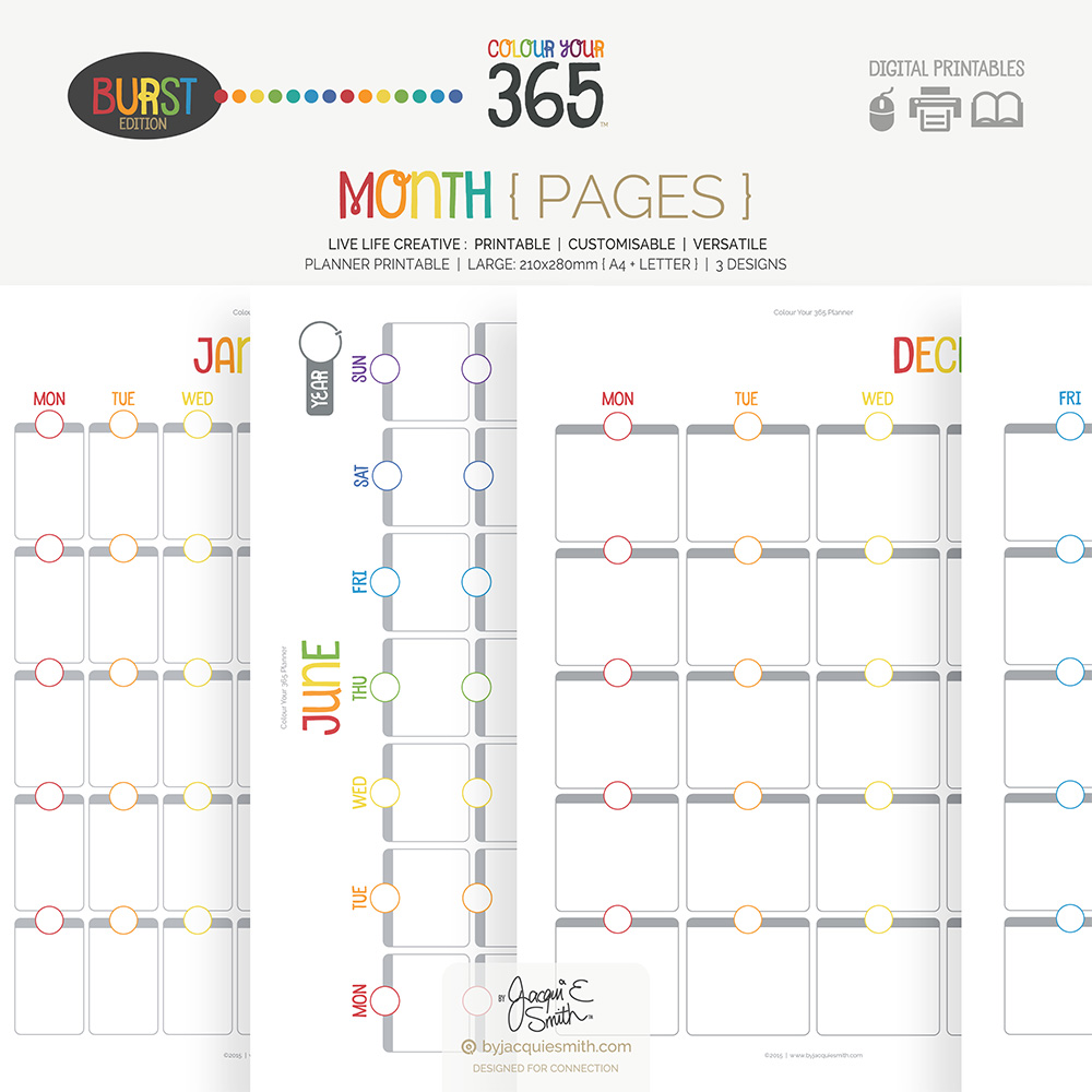 Perpetual Colour Your 365 Burst Edition Month Printable Planner at www.byjacquiesmith.com