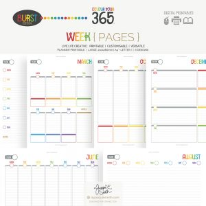 Perpetual Colour Your 365 Burst Edition Week Printable Planner at www.byjacquiesmith.com