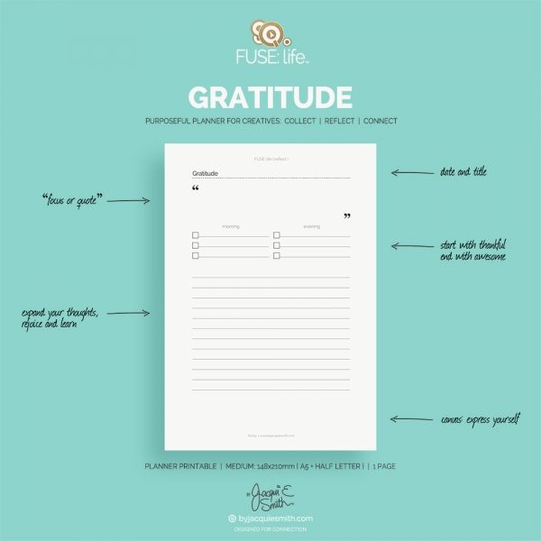 FUSE:life Gratitude planner printables FREE at byjacquiesmith.com