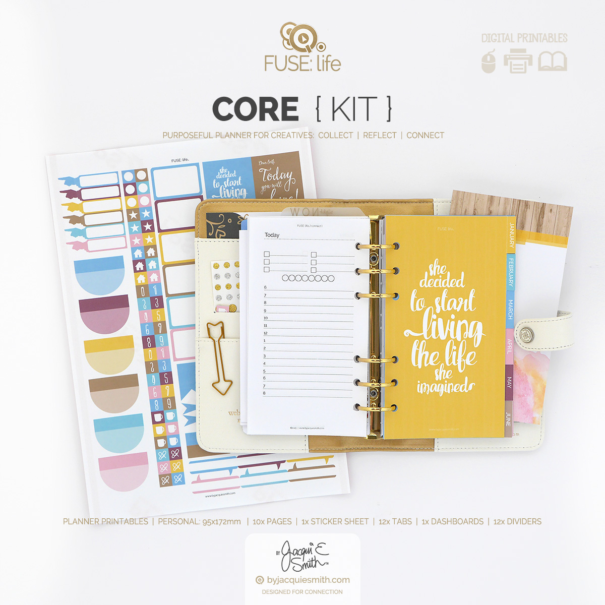 Personal FUSE:life Core Kit planner printables at www.byjacquiesmith.com