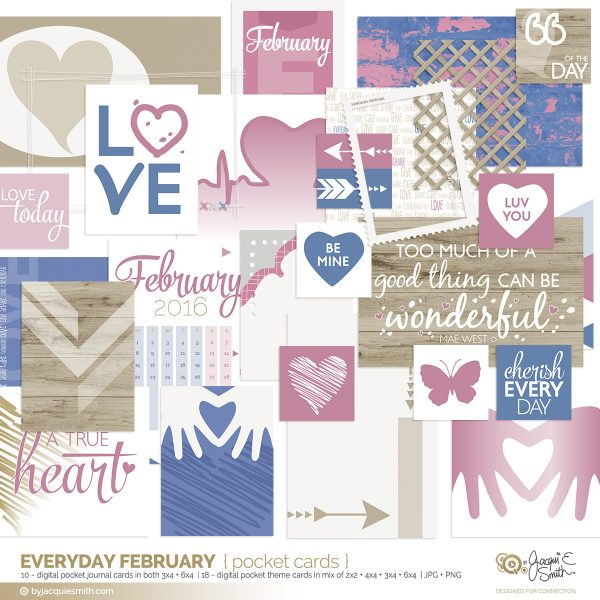 Everyday February digital scrapbooking and planner pocket cards at byjacquiesmith.com