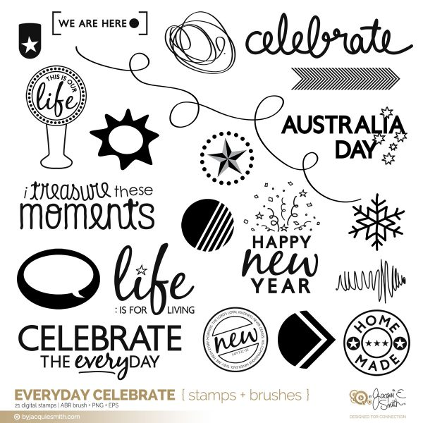 Everyday Celebrate digital stamps + brushes at byjacquiesmith.com