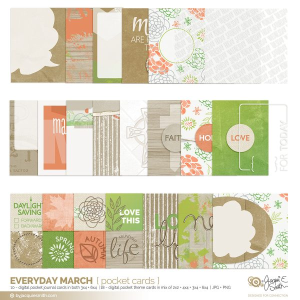 Everyday March digital pocket journalling cards at byjacquiesmith.com