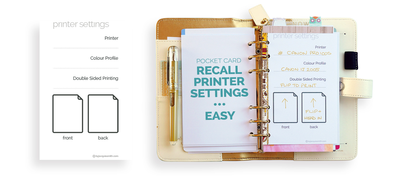 Remember print settings with a planner pocket card at byjacquiesmith.com