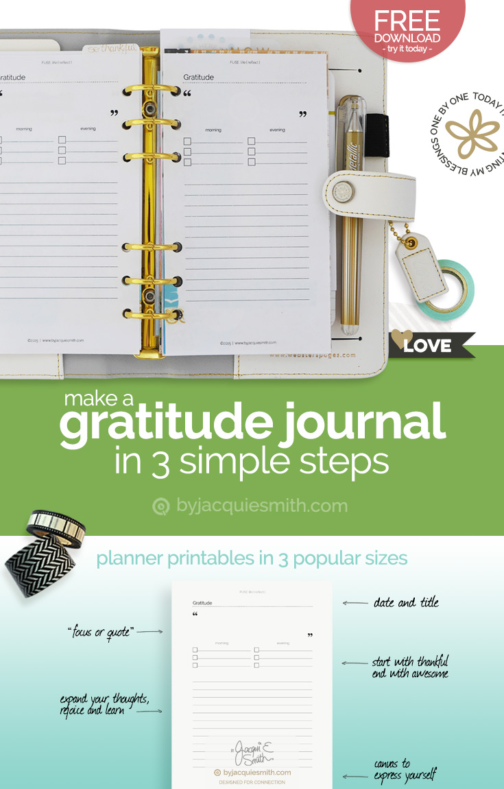 Make your own gratitude journal with free planner printables at byjacquiesmith.com