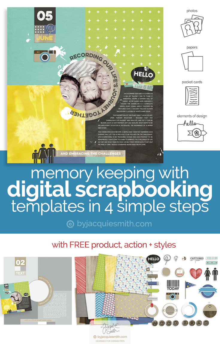 Create digital scrapbooking page with templates in 4 simple steps at byjacquiesmith.com