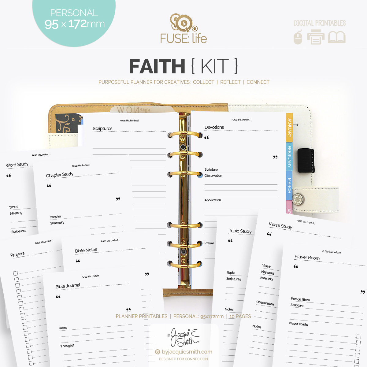 FUSE:life Faith Kit planner printables in three popular sizes at byjacquiesmith.com