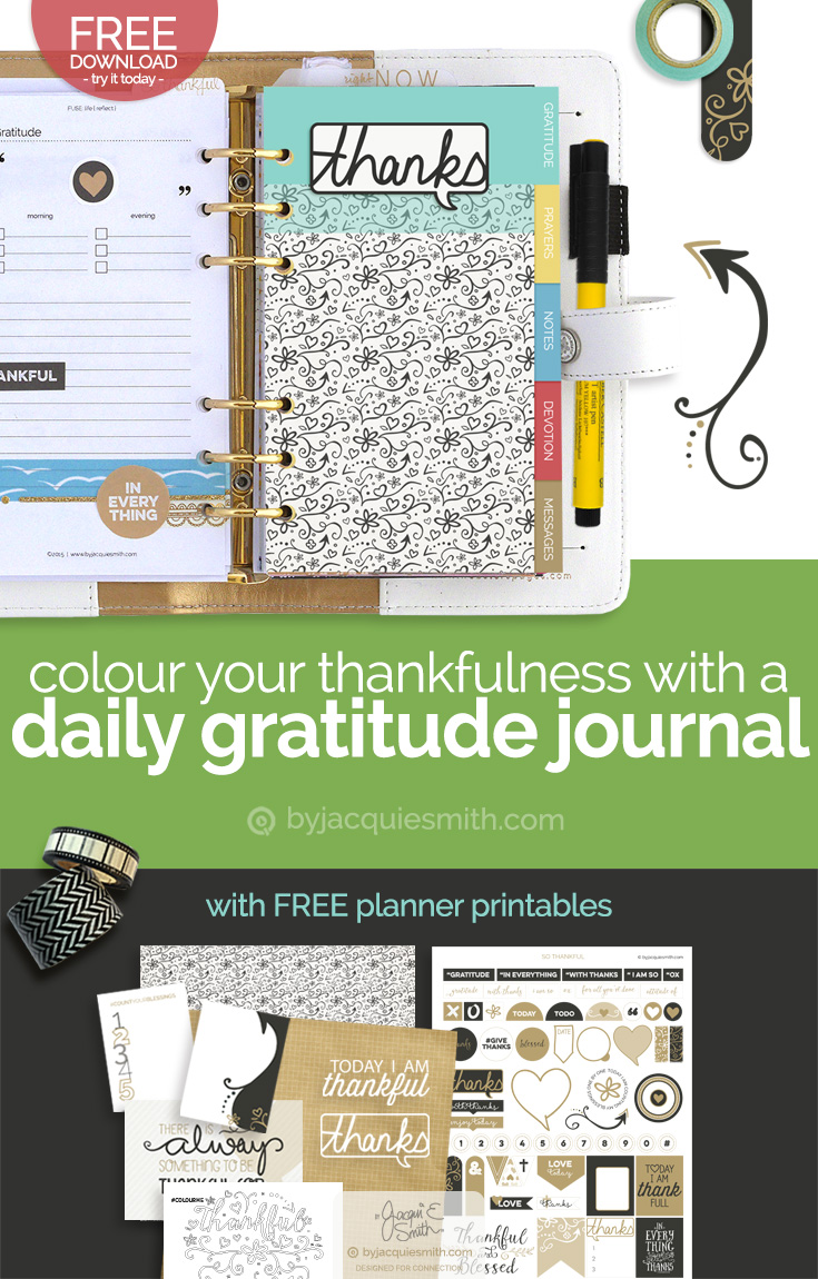 Colour Your Thankfulness in a Daily Gratitude Journal with free planner printables at byjacquiesmith.com