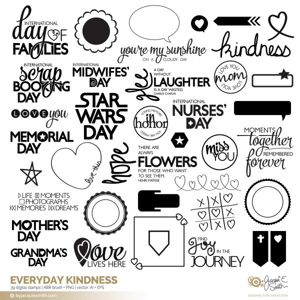 Everyday Kindness stamps + brushes at byjacquiesmith.com
