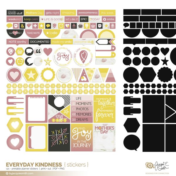 Everyday Kindness printable planner stickers at byjacquiesmith.com