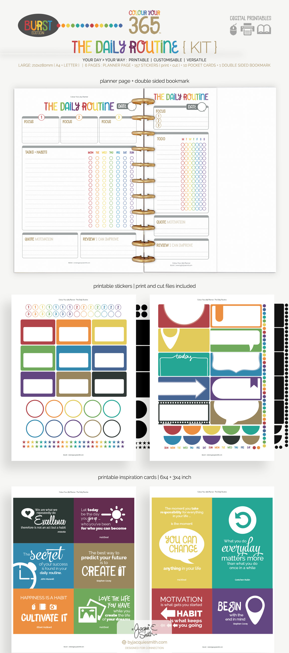 Colour Your 365 : Burst Edition - The Daily Routine planner printables at byjacquiesmith.com