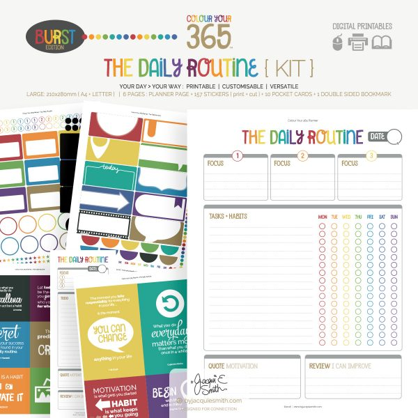 Colour Your 365 Burst Edition The Daily Routine planner printables at byjacquiesmith.com