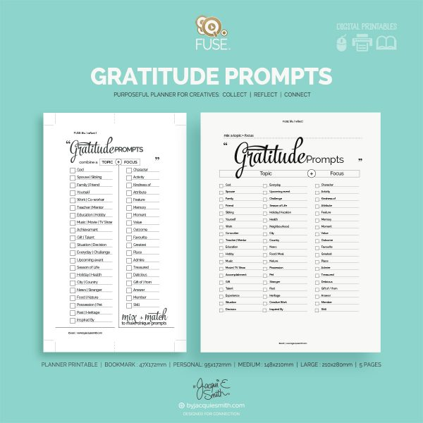 FUSE:life Gratitude Prompts - planner printables at byjacquiesmith.com
