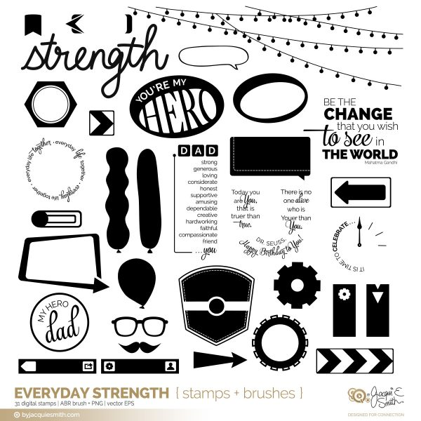 Everyday Strength digital stamps + brushes at byjacquiesmith.com