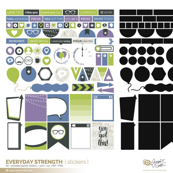 Everyday Strength printable planner stickers at byjacquiesmith.com