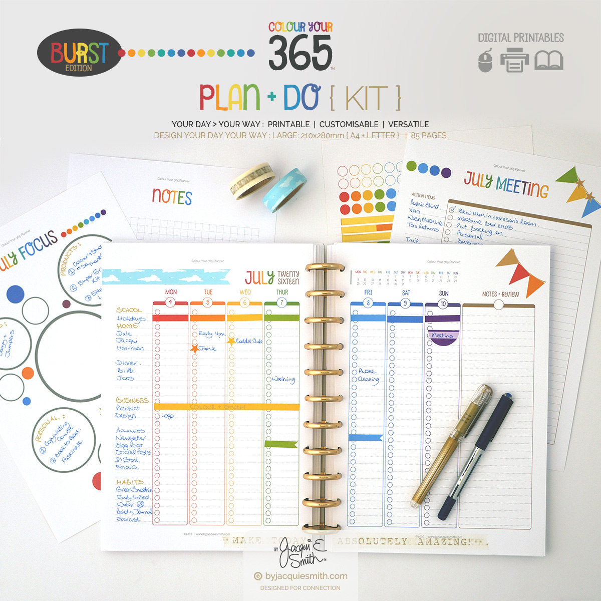 Colour Your 365 Burst Edition Plan + Do planner printables at byjacquiesmith.com