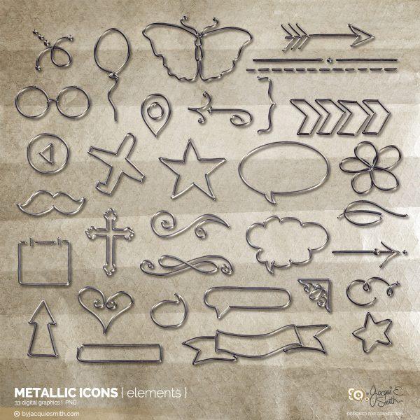 Metallic Icon digital brushes + stamps at byjacquiesmith.com