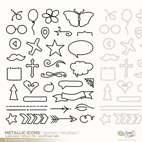 Metallic Icon digital brushes + stamps at byjacquiesmith.com