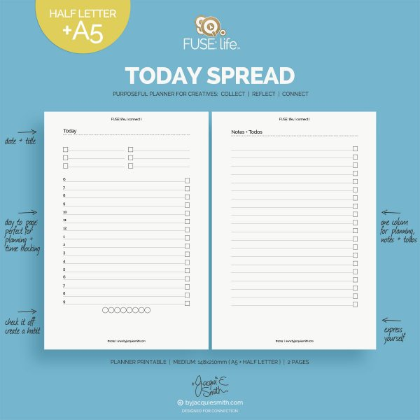 FUSE:life Today Spread Kit planner printables : A5 + Half Letter at byjacquiesmith.com