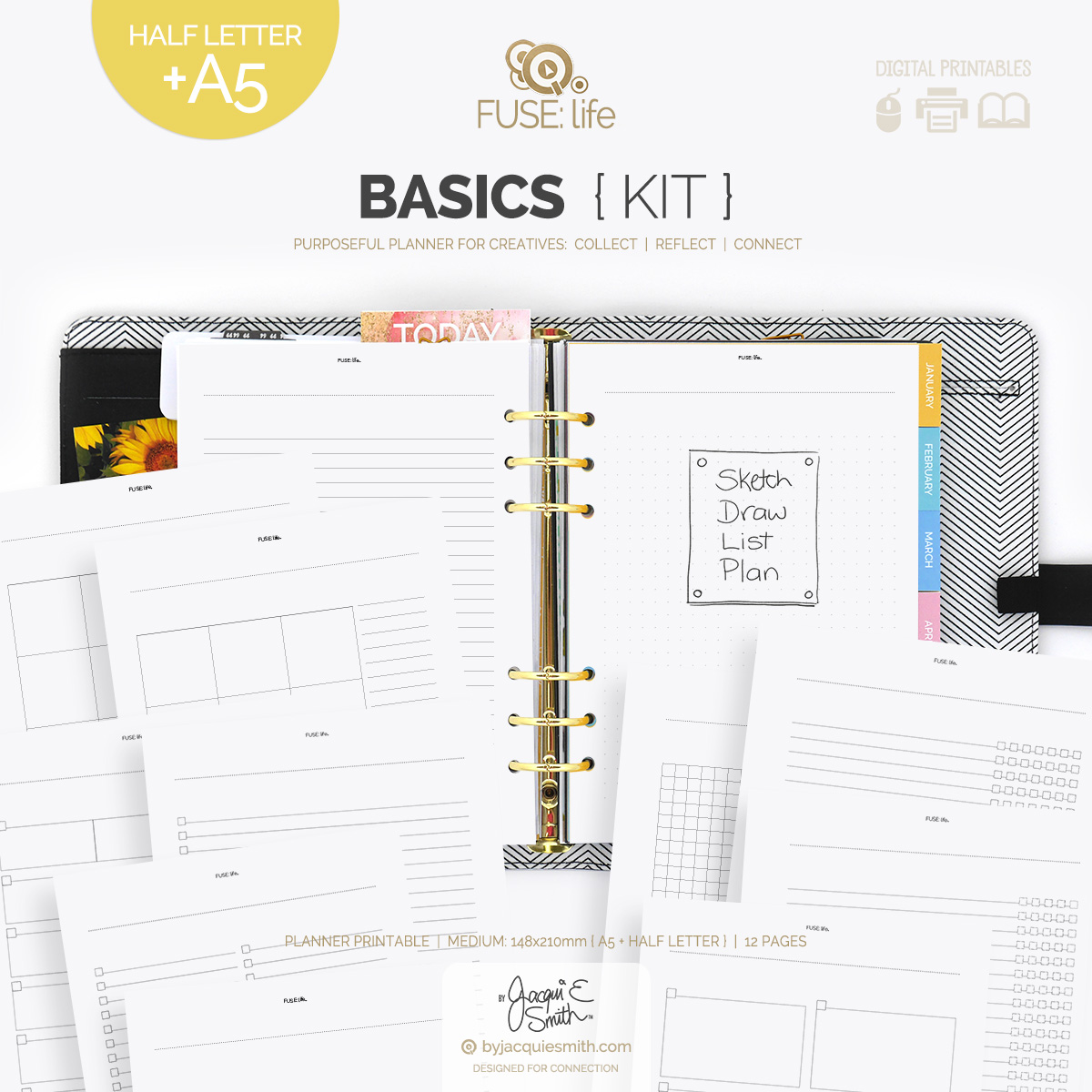FUSE:life Basics Kit planner printables : A5 + Half Letter at byjacquiesmith.com