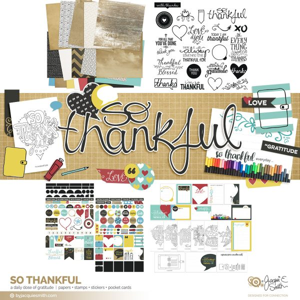So Thankful bundle : digital papers, stamps, stickers + pocket cards at byjacquiesmith.com