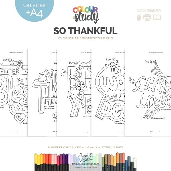 So Thankful Color + Study printable devotional : large at byjacquiesmith.com