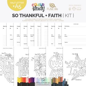 So Thankful Color + Study devotional + FUSE:life Faith : medium planner printables at byjacquiesmith.com