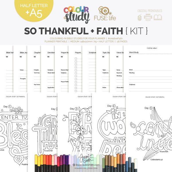So Thankful Color + Study devotional + FUSE:life Faith : medium planner printables at byjacquiesmith.com