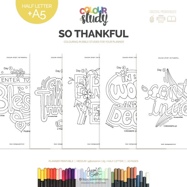 So Thankful Color + Study printable devotional : medium at byjacquiesmith.com
