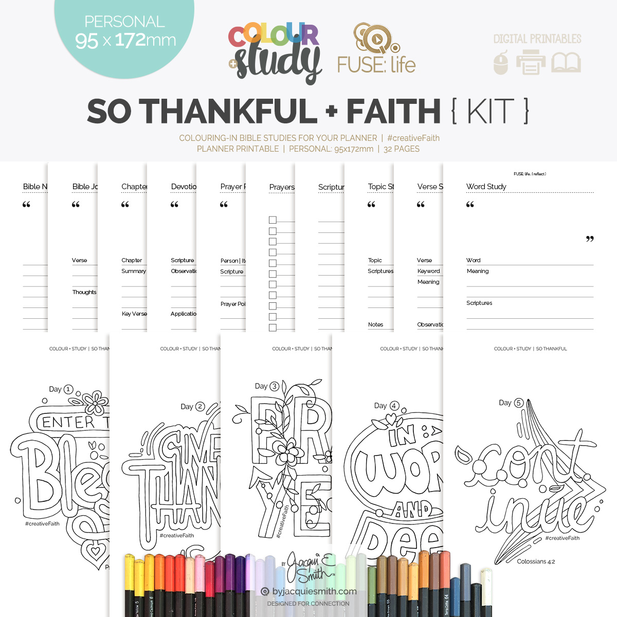 So Thankful Color + Study devotional + FUSE:life Faith : personal planner printables at byjacquiesmith.com