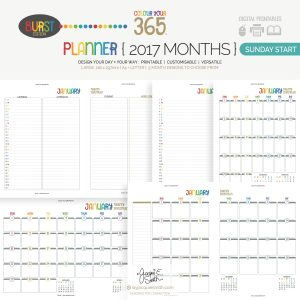 2017 Colour Your 365 Burst Edition printable planner : Sunday Start Month page designs > see more + create your perfect planner at byjacquiesmith.com