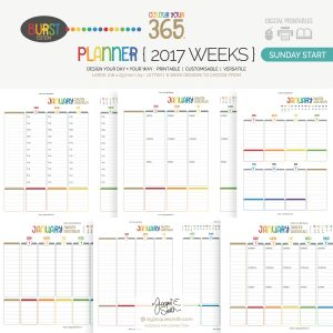 2017 Colour Your 365 Burst Edition printable planner : Sunday Start Year page designs > see more + create your perfect planner at byjacquiesmith.com