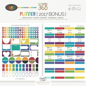 2017 Colour Your 365 Burst Edition printable planner Bonus stickers + tabs at byjacquiesmith.com